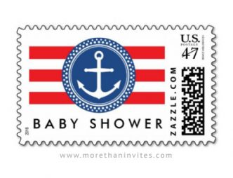 Elegant anchor baby shower postage stamp with red stripes