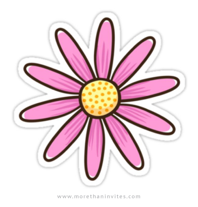Pink cartoon flower sticker.