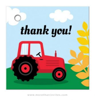 Red tractor and wheat thank you favor tags