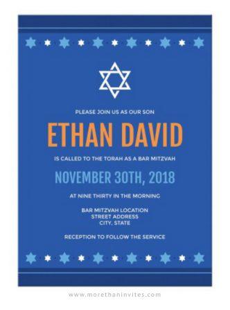 Modern, blue bar mitzvah invitations