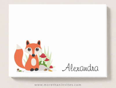 Post-it notes with cute cartoon fox and personalized name