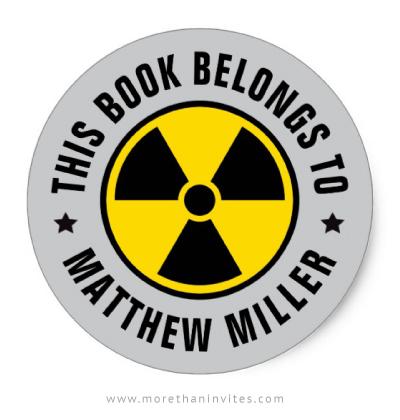 Nuclear radiation symbol bookplate sticker for boys