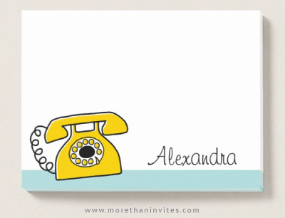 Personalized post-it notes with yellow, retro telephone