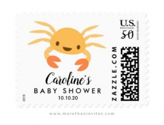 Cute crab under the sea baby shower postage stamp