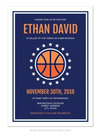 Modern basketball bar mitzvah invitations