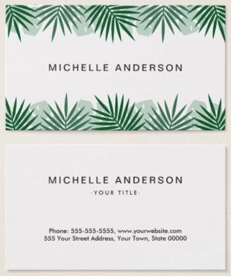 Tropical leaf border spa business cards