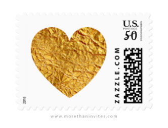 Wedding or golden anniversary postage stamps with faux gold foil hearts
