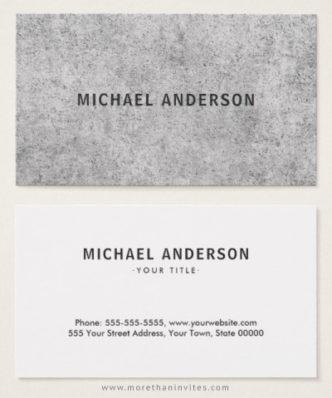Gray, urban concrete business cards for men