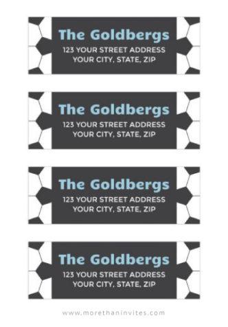 Soccer mailing or return address labels for soccer ball themed event