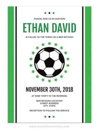 Modern soccer bar mitzvah invitations with green borders