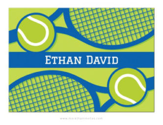 Blue and green tennis note card with custom name