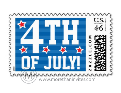 Fun, patriotic postage stamp for 4th of July mailings