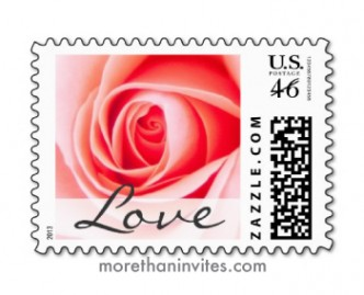 "Beautiful pink rose wedding or valentine's day postage stamp with text ""Love"""