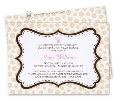 Stylish baby shower invitation featuring an elegant brown frame, whimsical polka dots and a pink princess crown