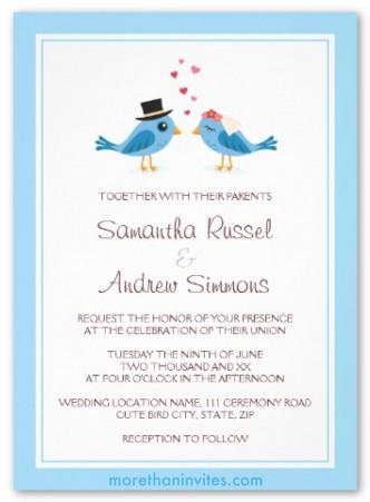 Cute blue bird bride and groom couple wedding invitation