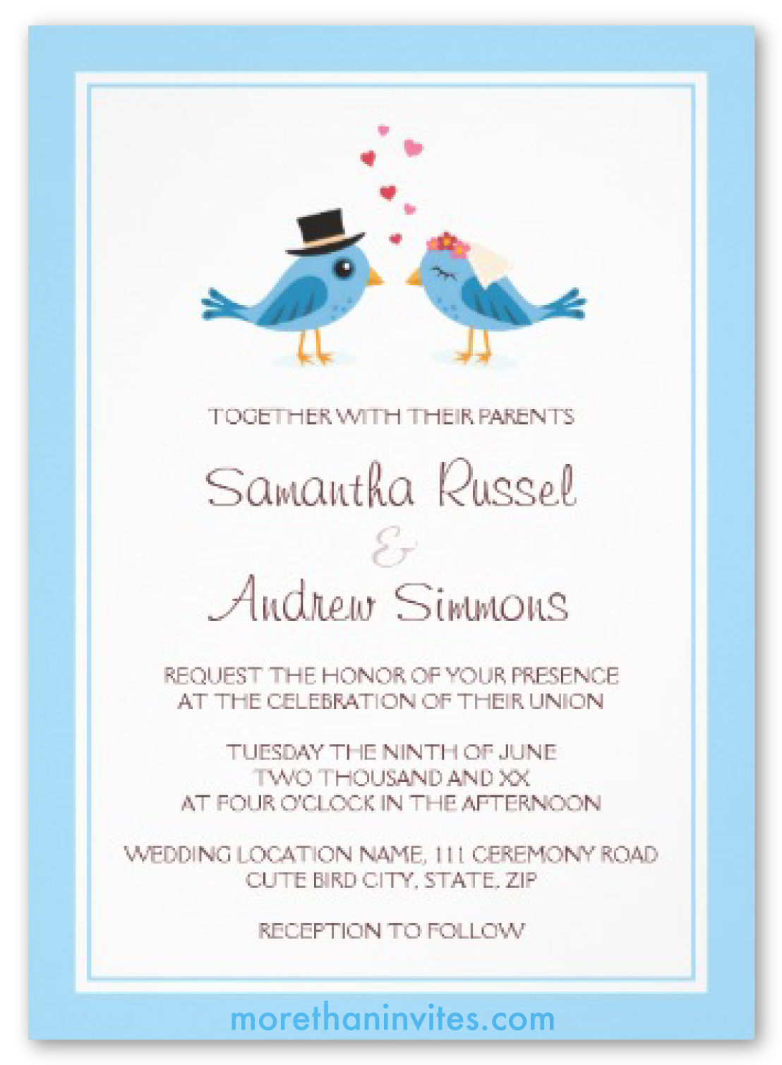 cute blue bird bride and groom wedding invitation