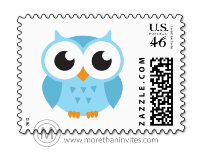 Cute Blue Cartoon Baby Owl Postage Stamp More Than Invites