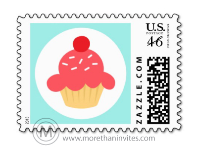 Fun birthday postage stamp featuring a cute cartoon cupcake on a white circle and aqua blue border