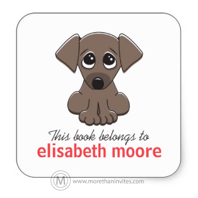 Cute book labels for kids with cute cartoon dog