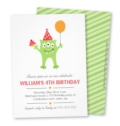 Cute birthday invite with green moster wearing a party hat and holding a balloon and cupcake