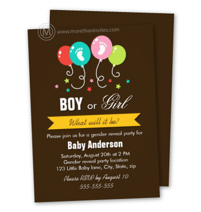 Brown gender reveal party invites with stars and balloons