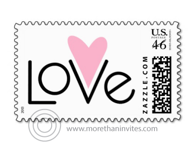 "Stylish, modern postage stamp with text ""love"" and a pink heart"