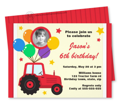 Fun birthday party invitation for children with red cartoon tractor