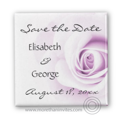 Romantic Save the Date magnets with a beautiful purple rose