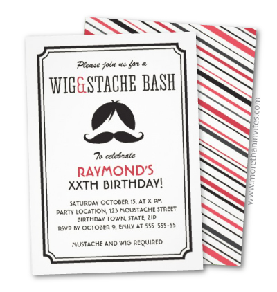 Retro wig and mustache bash invites
