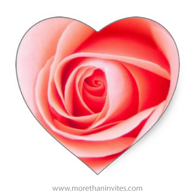 Decorative stickers or envelope seals with a photograph of a fresh pink rose