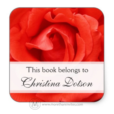 Elegant floral book labels with custom name and romantic red rose