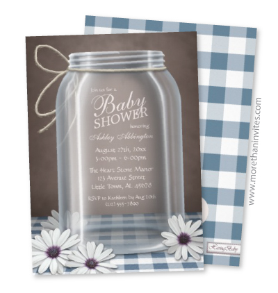 Boy baby shower invitation with blue gingham checkers, mason jars and flowers