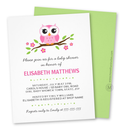 Girl baby shower invite with a cute little owl sitting on a branch