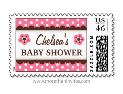 Cute postage stamp for baby girl showers