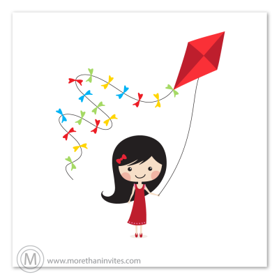 Cute vector illustration of a little kirk with long black hair holding a kite