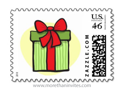 Green gift box with red bow and ribbon custom postage stamp