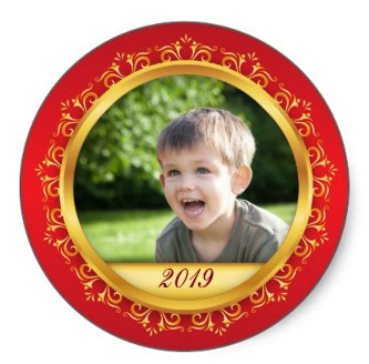 Fun custom Christmas photo stickers in red and gold