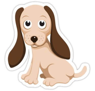 Fun stickers featuring a cute cartoon pup with begging eyes