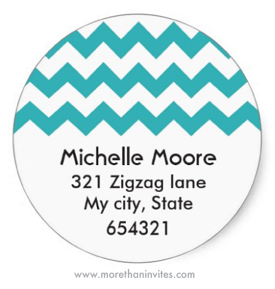 Cute return address labels with a teal aqua blue chevron zigzag pattern
