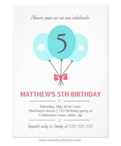 Aqua blue balloons pale red bow elegant birthday party invitation