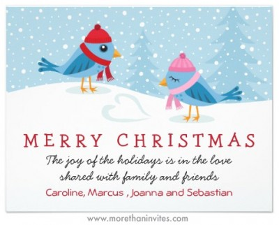 Flat Christmas holiday card with cute cartoon birds in the snow