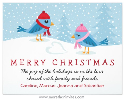 Birds in the snow cute christmas holiday card more than invites flat christmas holiday card with cute cartoon birds in the snow m4hsunfo