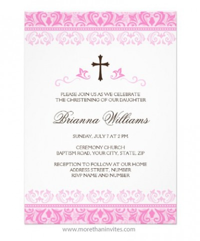 Elegant baptism invitation for little baby girls with pink damask borders