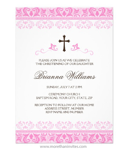 Pink lace damask christening baptism invitation for baby girls
