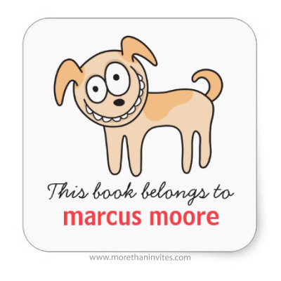 Cute school book labels for kids with funny brown puppy dog
