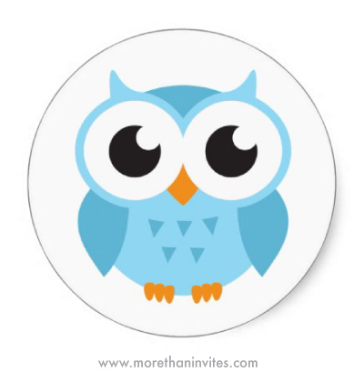 Little blue cartoon owl cute favor stickers or envelope seals