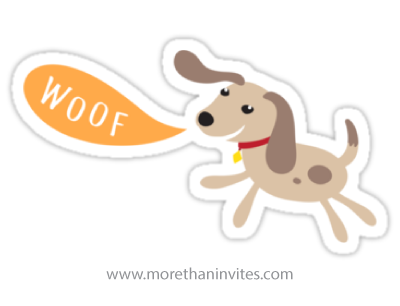 Cute cartoon dog saying woof sticker