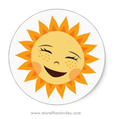 Cute happy laughing cartoon sunl stickers for kids or envelope seals
