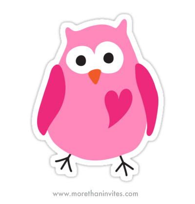 Stickers featuring a funny, cute owl with a pink heart
