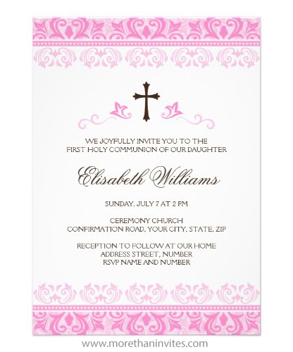 First holy communion confirmation invitation for girls brown cross and beautiful pink lace damask border
